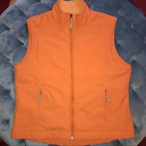 New! L.L. BEAN Fleece Lined Orange Vest Sz Medium